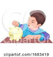 Boy Putting Money In A Piggy Bank