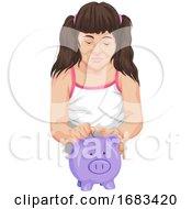 Girl Putting Money In A Piggy Bank