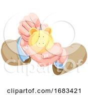 Poster, Art Print Of Hands Holding A Piggy Bank