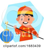 Cute Cartoon Chinese Boy