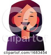 Customer Support Girl Talking On A Headphones