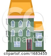 Cartoon Green Building With Yellow Roof