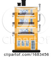 Cartoon Orange Building With Three Floors