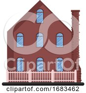Cartoon Red Building With Blue Windows