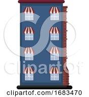 Cartoon Blue Building Vector