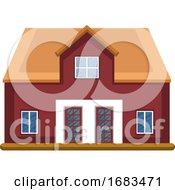 Cartoon Red Building With Yellow Roor