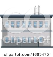 Cartoon White Building With Blue Roof