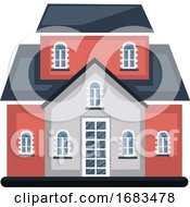 Cartoon Red Building With Bule Roof