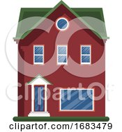 Cartoon Red Building With Green Roof