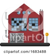 Poster, Art Print Of Cartoon Red Building With Blue Windows