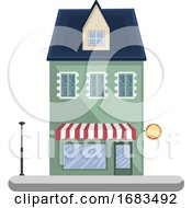 Cartoon Green Building With Blue Roof