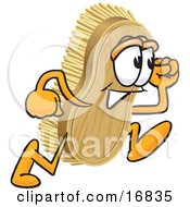 Clipart Picture Of A Scrub Brush Mascot Cartoon Character Running