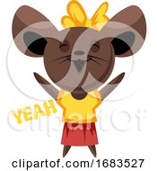 Brown Mouse With Yellow Bow Spreading Hands And Saying Yeah