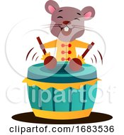 Poster, Art Print Of Cartoon Chinese Mouse Playing Drums