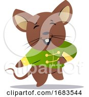 Cartoon Mouse In Green Chinese Suit