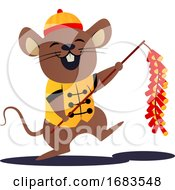 Cartoon Mouse In Yellow Chinese Suit