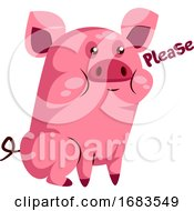 Cute Pink Piggy Saying Please