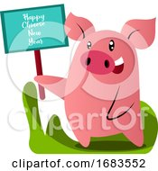 Cartoon Pig In Blue Chinese Suit