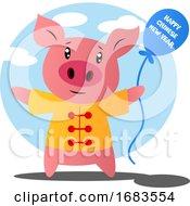Cartoon Pig Celebrating Chinese New Year