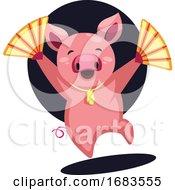 Happy Pig Celebrating Chinese New Year