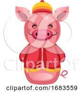 Pig In A Traditional Chinese Costume