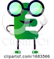 Green Letter E With Glasses