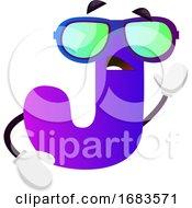 Purple Letter J With Sunglasses