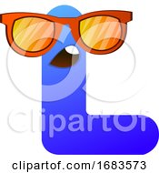 Blue Letter L With Sunglasses