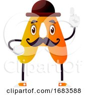 Orange Letter A With Mustache And Hat