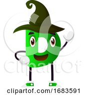 Green Letter D With Black Hat