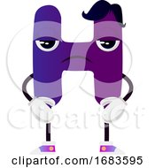 Purple Letter H With Black Hair
