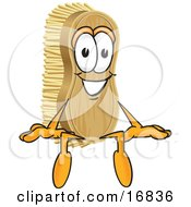 Clipart Picture Of A Scrub Brush Mascot Cartoon Character Sitting by Toons4Biz
