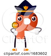 Orange Letter P With Police Hat