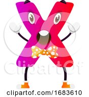 Pink Cartoon Letter X With Yellow Bowtie