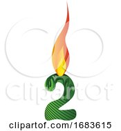 Green Number Two In Flame