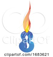 Blue Number Eight Burning