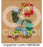 Poster, Art Print Of Mayan Dragon Illustration