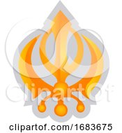 Yellow Symbol Of A Sikhism Religion
