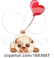 Poster, Art Print Of Brown And White Puppy Laying With A Big Red Balloon Tied On His Tail