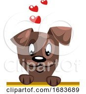 Poster, Art Print Of Brown Dog With Hearts Above His Head