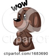 Poster, Art Print Of Brown Supprised Dog Saying Wow