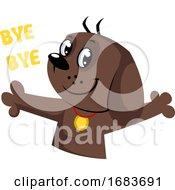 Poster, Art Print Of Brown Dog Saying Bye Bye