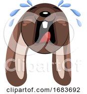 Poster, Art Print Of Sad Crying Brown Dog Head