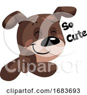 Poster, Art Print Of Brown Dog With A Smile Saying So Cute