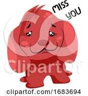 Poster, Art Print Of Sad Red Dog Saying Miss You