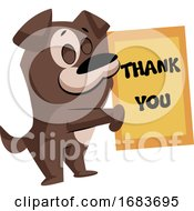 Poster, Art Print Of Brown Dog Holding A Thank You Sign