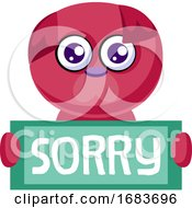Poster, Art Print Of Deep Pink Puppy Holding Sorry Sign