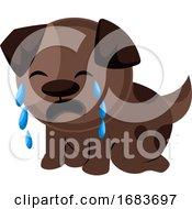 Poster, Art Print Of Brown Sad Dog Crying