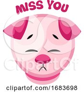 Poster, Art Print Of Sad Pink Puppy Saying Miss You