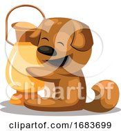 Poster, Art Print Of Dog With A Lantern Chinese New Year